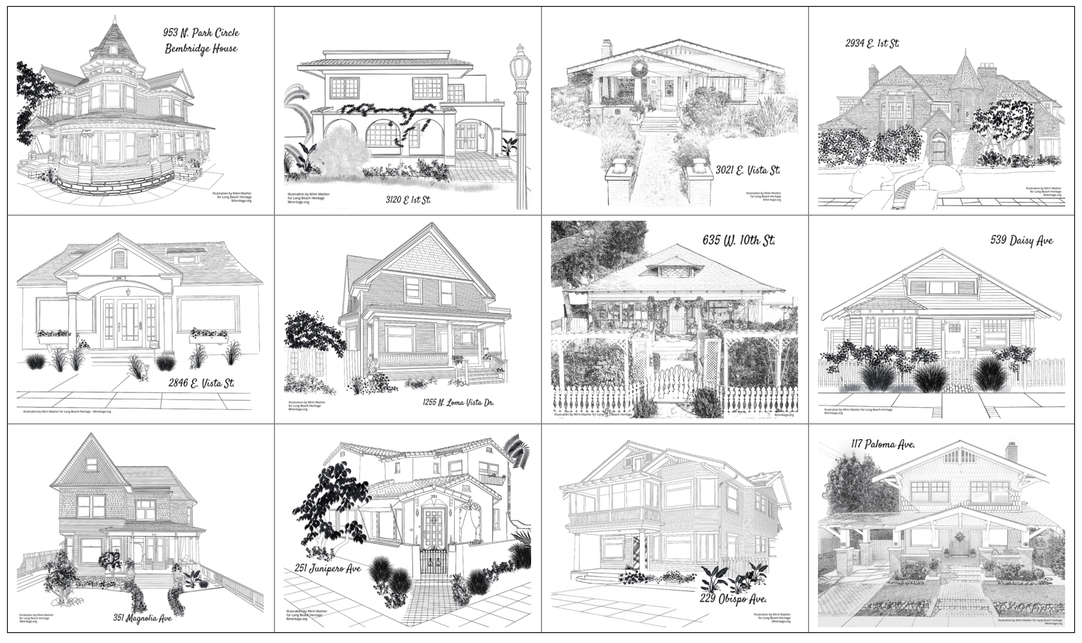 Coloring pages for Long Beach Heritage holiday coloring contest